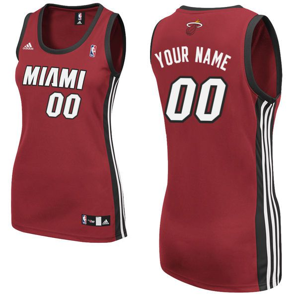 Adidas Miami Heat Women Custom Replica Alternate Red NBA Jersey