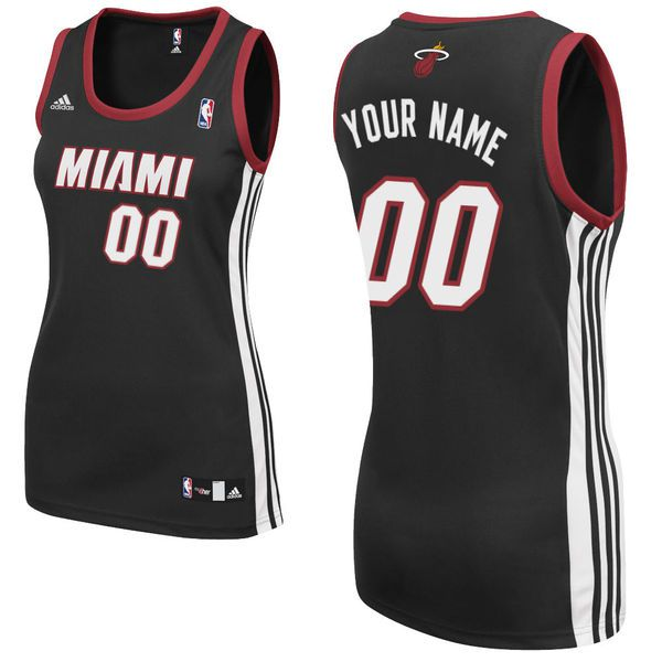 Adidas Miami Heat Women Custom Replica Road Black NBA Jersey