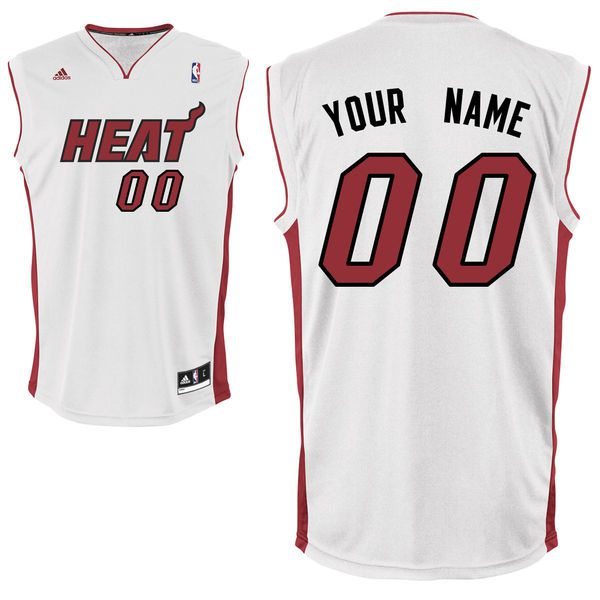 Adidas Miami Heat Youth Custom Replica Home White NBA Jersey
