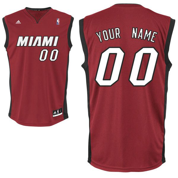 Adidas Miami Heat Youth Customizable Replica Alternate Red NBA Jersey