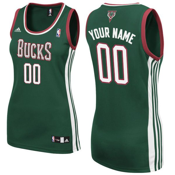 Adidas Milwaukee Bucks Women Custom Replica Road Green NBA Jersey