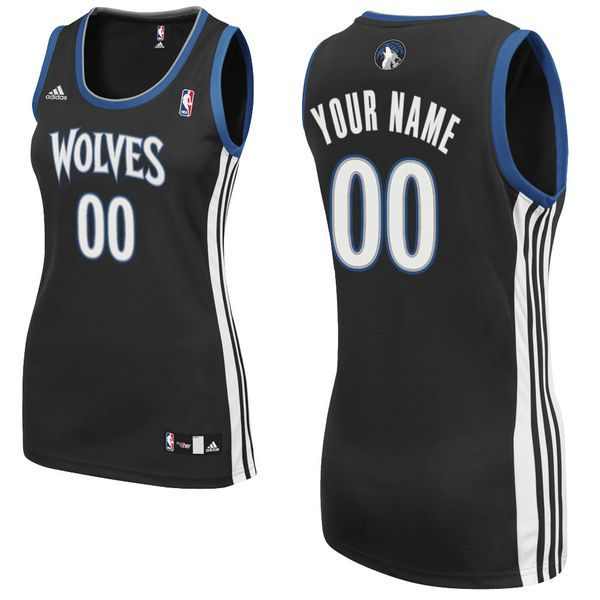 Adidas Minnesota Timberwolves Women Custom Replica Alternate Black NBA Jersey