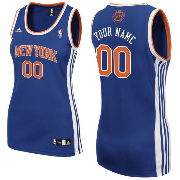 Adidas New York Knicks Women Custom Replica Road Blue NBA Jersey