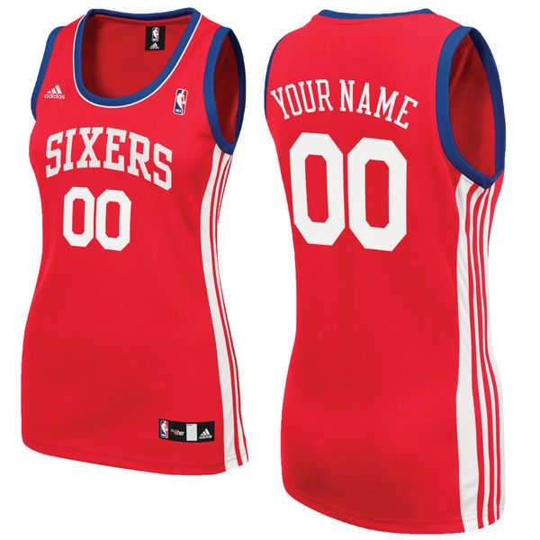 Adidas Philadelphia 76ers Women Custom Replica Alternate Red NBA Jersey