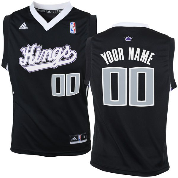 Adidas Sacramento Kings Youth Customizable Replica Alternate Black NBA Jersey