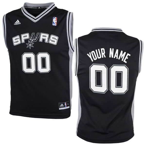 Adidas San Antonio Spurs Youth Custom Replica Road Black NBA Jersey