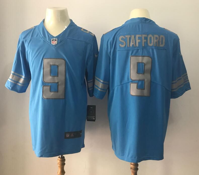 Men 2017 Detroit Lions 9 Matthew Stafford Blue 2017 Nike Rush Limited NFL Jerseys