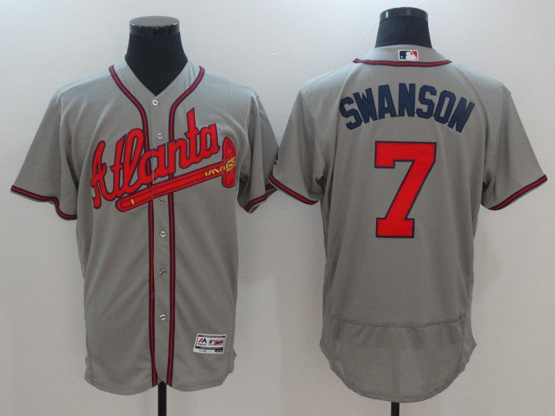 Men 2017 MLB Atlanta Braves 7 Swanson Grey Elite Jerseys