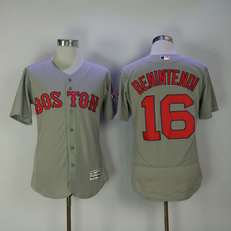 Men 2017 MLB Boston Red Sox 16 Benintendi Grey Elite Jerseys