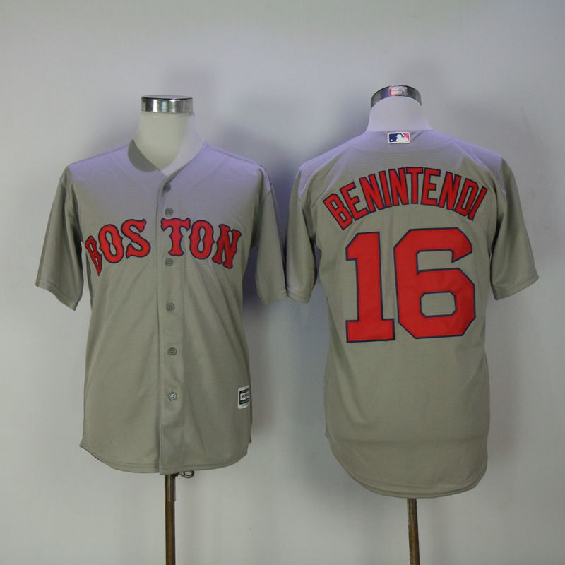 Men 2017 MLB Boston Red Sox 16 Benintendi Grey Game Jerseys