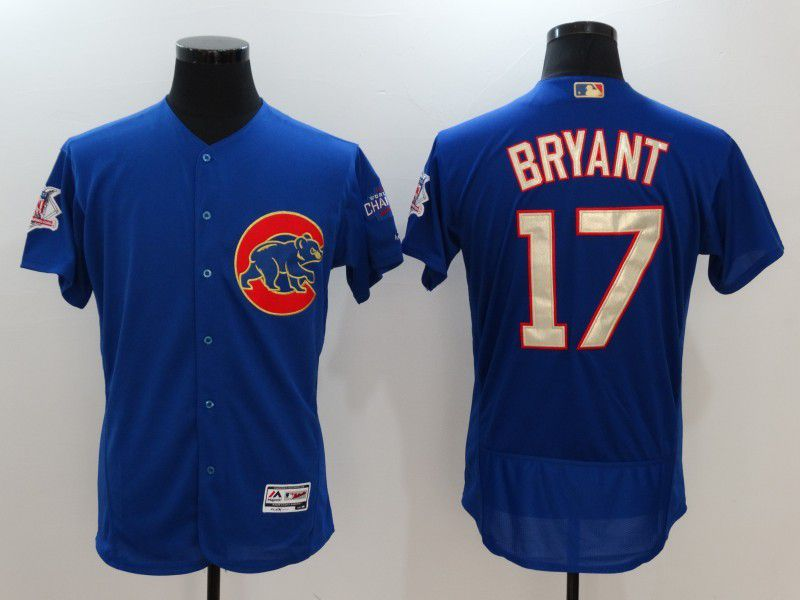 Men 2017 MLB Chicago Cubs 17 Kris Bryant Blue Elite Championship Gold Edition Jerseys