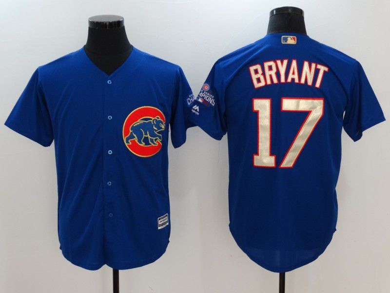 Men 2017 MLB Chicago Cubs 17 Kris Bryant Blue Game Championship Gold Edition Jerseys