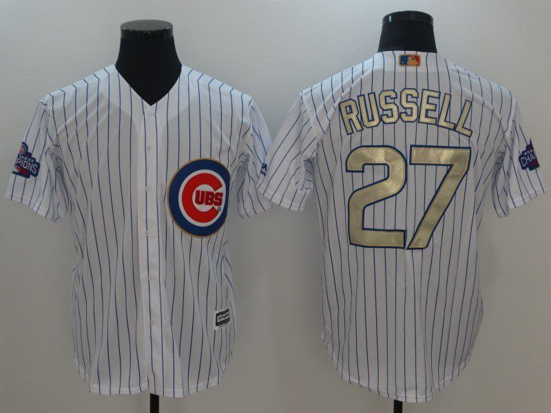 Men 2017 MLB Chicago Cubs 27 Russell White Gold Program Game Jersey
