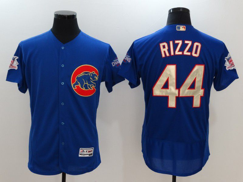 Men 2017 MLB Chicago Cubs 44 Anthony Rizzo Blue Elite Championship Gold Edition Jerseys
