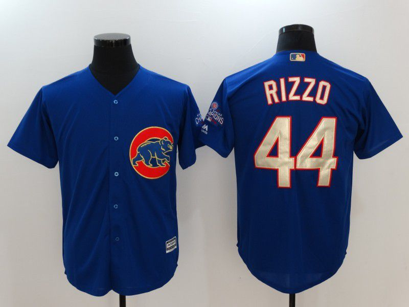 Men 2017 MLB Chicago Cubs 44 Anthony Rizzo Blue Game Championship Gold Edition Jerseys