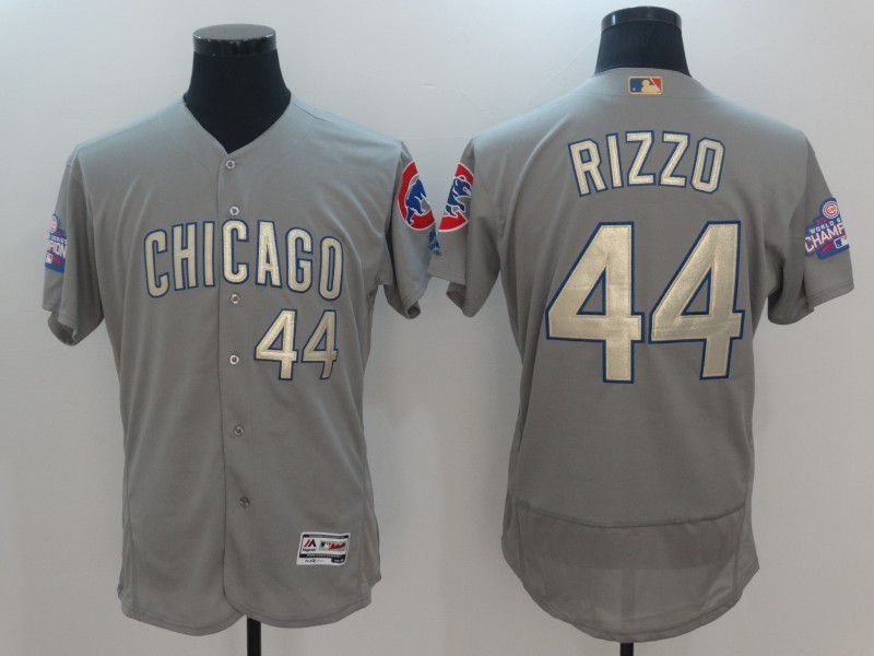 Men 2017 MLB Chicago Cubs 44 Rizzo Grey Gold Program Elite Jersey