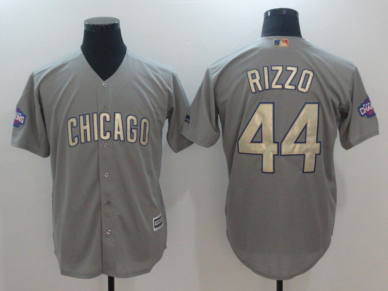 Men 2017 MLB Chicago Cubs 44 Rizzo Grey Gold Program Game Jersey
