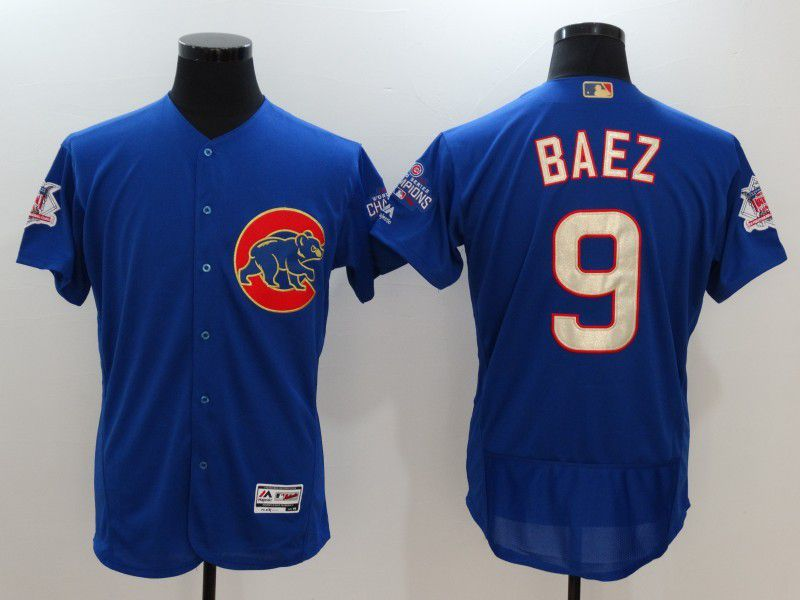 Men 2017 MLB Chicago Cubs 9 Javier Baez Blue Elite Championship Gold Edition Jerseys