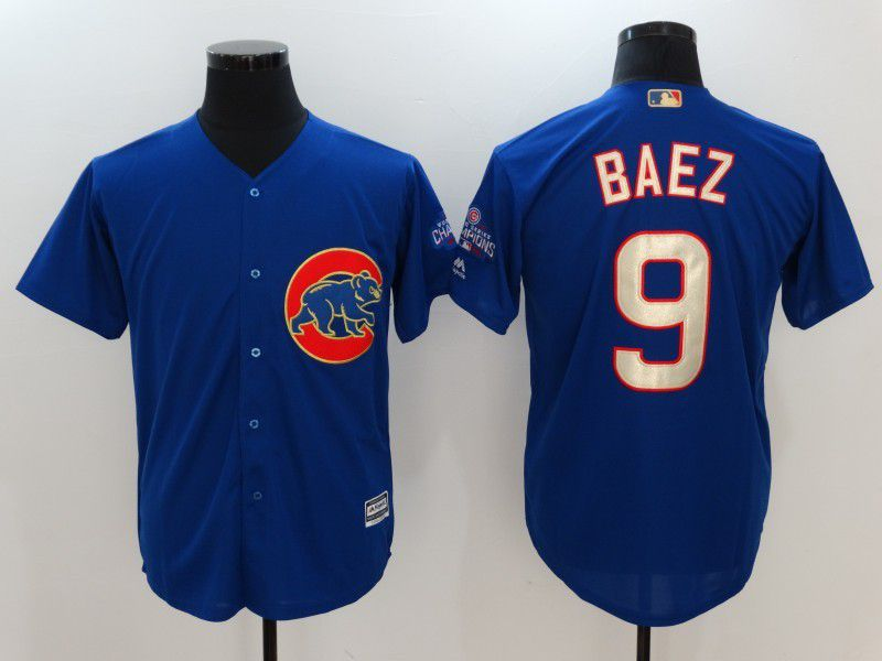 Men 2017 MLB Chicago Cubs 9 Javier Baez Blue Game Championship Gold Edition Jerseys