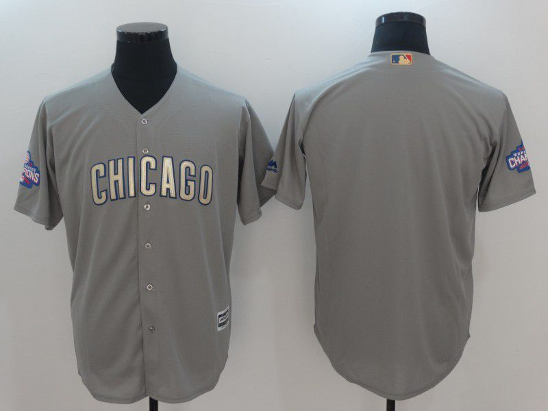 Men 2017 MLB Chicago Cubs Blank Grey Gold Program Game Jersey