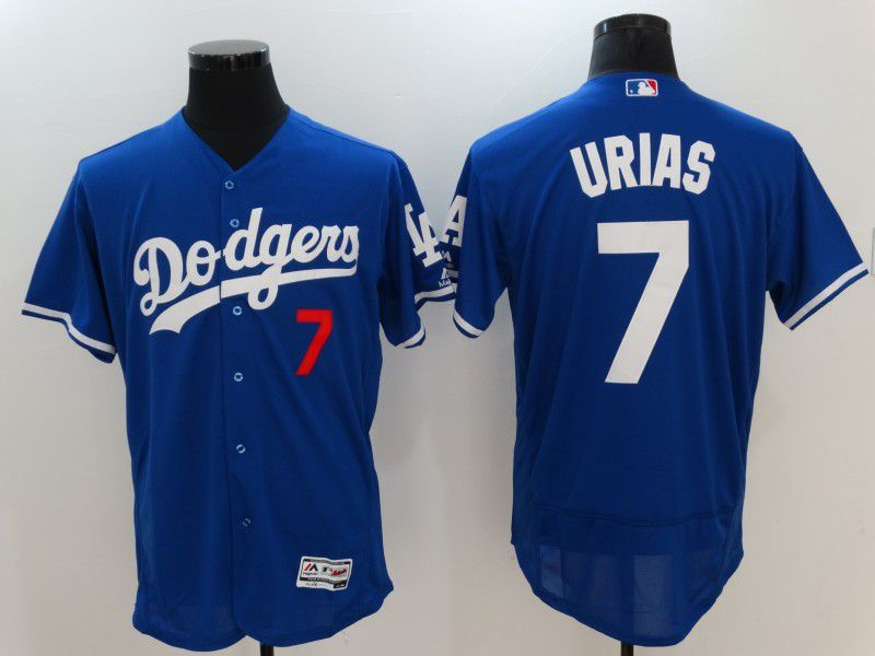Men 2017 MLB Los Angeles Dodgers 7 Urias Blue Elite Jerseys