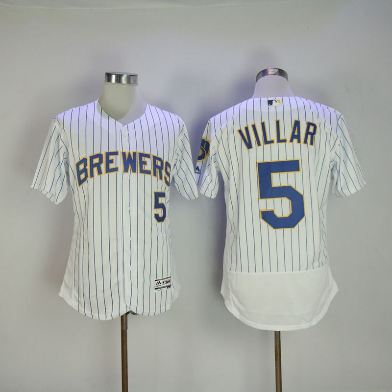 Men 2017 MLB Milwaukee Brewers 5 Jonathan Villa White Elite Jerseys