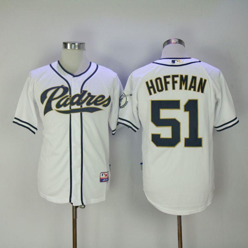 Men 2017 MLB San Diego Padres 51 Hoffman White Jerseys