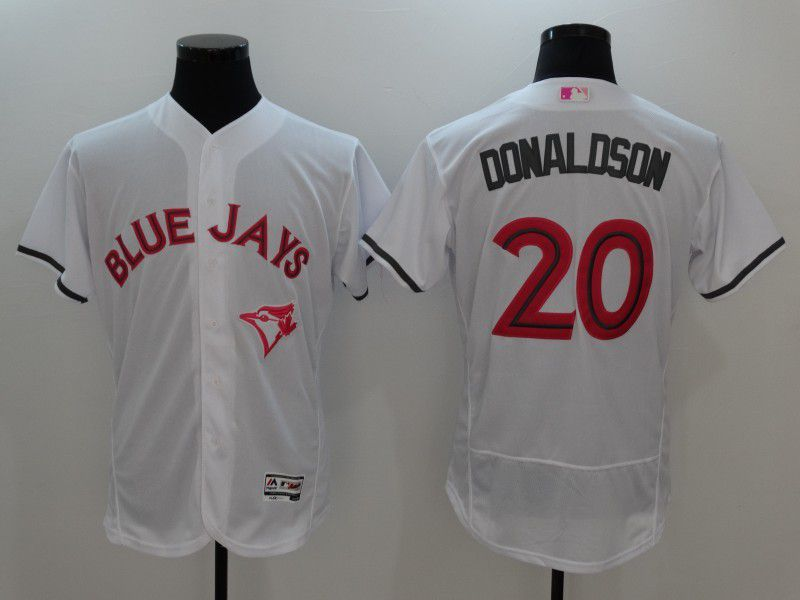 Men 2017 MLB Toronto Blue Jays 20 Donaldson White Jerseys