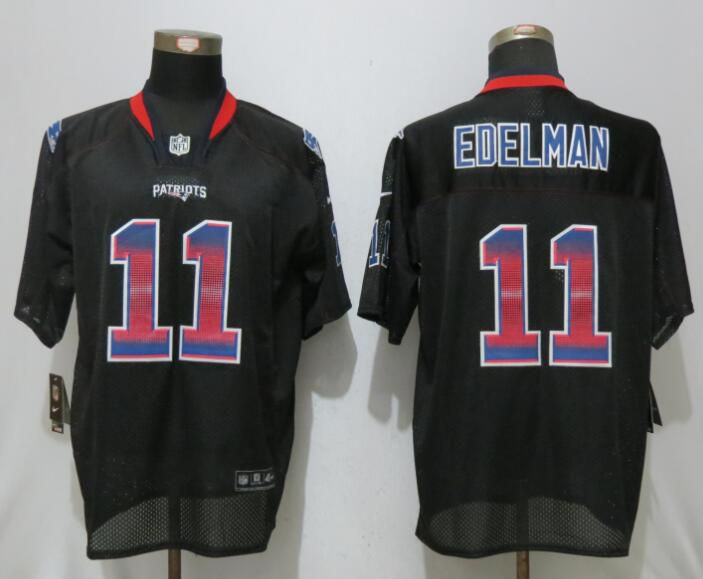 Men 2017 New England Patriots 11 Edelman Strobe Lights Out Black Nike Elite NFL Jerseys
