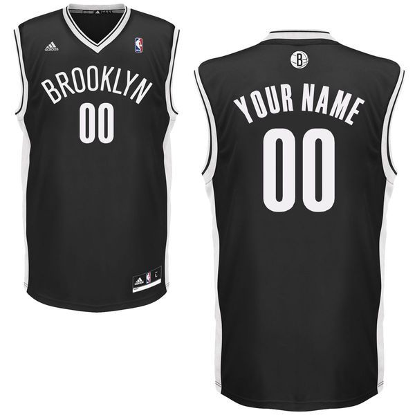 Men Adidas Brooklyn Nets Custom Replica Road Black NBA Jersey