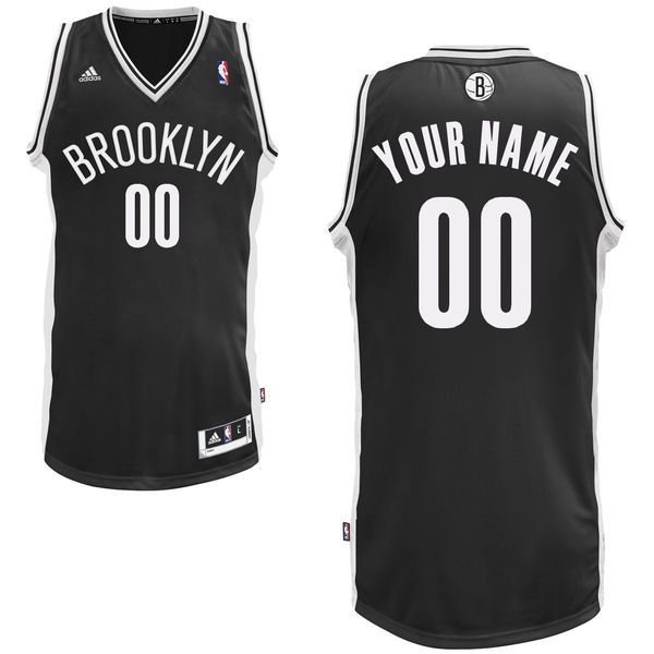 Men Adidas Brooklyn Nets Custom Swingman Road Black NBA Jersey