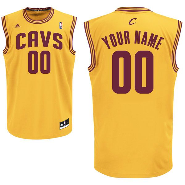 Men Adidas Cleveland Cavaliers Custom Replica Alternate Gold NBA Jersey