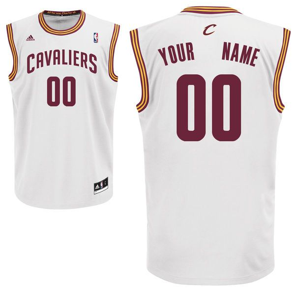 Men Adidas Cleveland Cavaliers Custom Replica Home White NBA Jersey