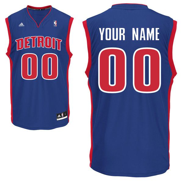 Men Adidas Detroit Pistons Custom Replica Road Blue NBA Jersey