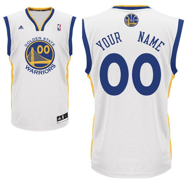 Men Adidas Golden State Warriors Custom Replica Home White NBA Jersey