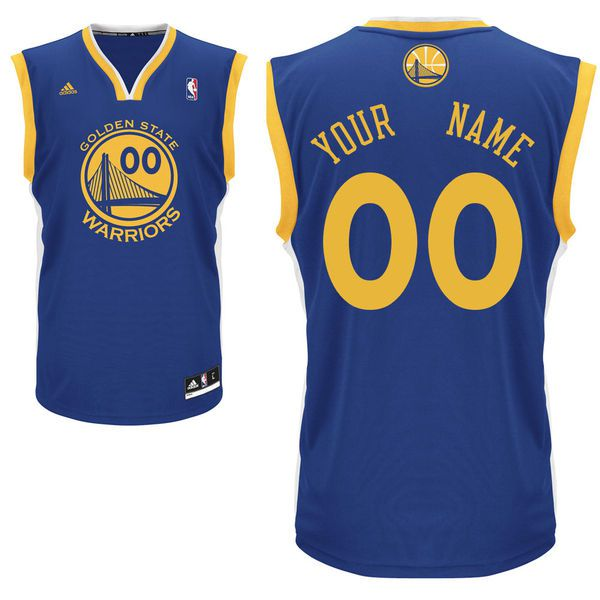 Men Adidas Golden State Warriors Custom Replica Road Blue NBA Jersey