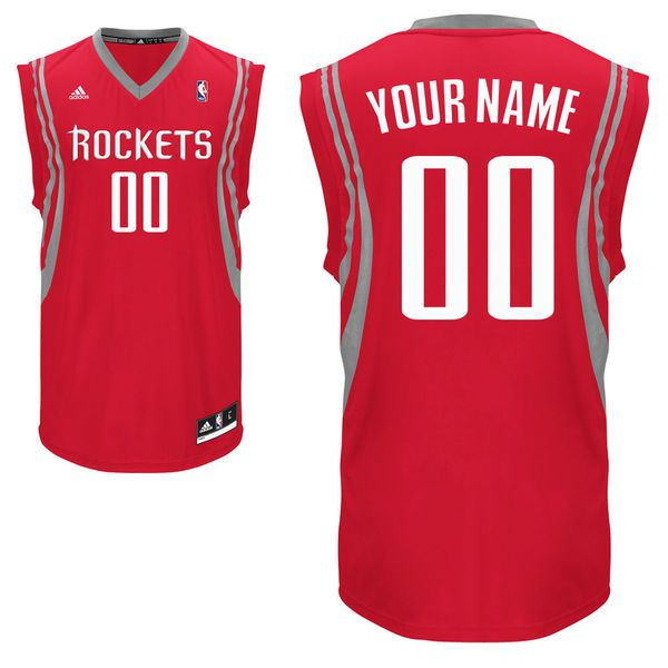 Men Adidas Houston Rockets Custom Replica Road Red NBA Jersey