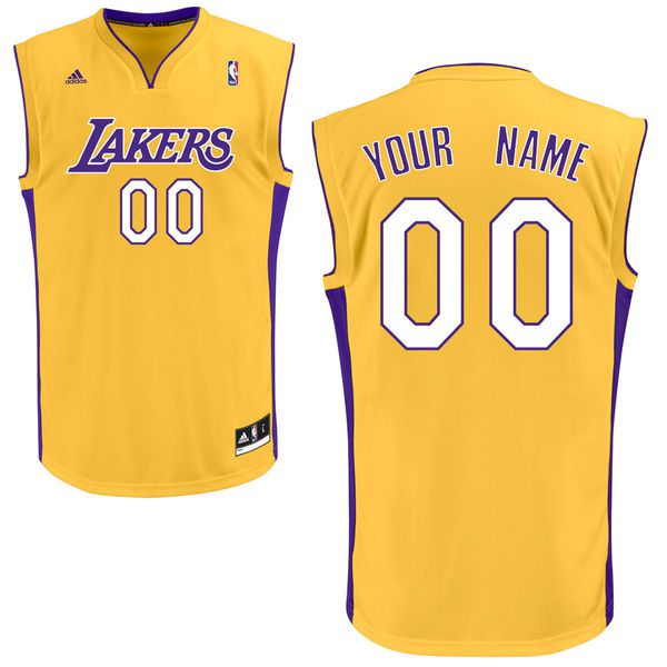 Men Adidas Los Angeles Lakers Custom Replica Home Yellow NBA Jersey