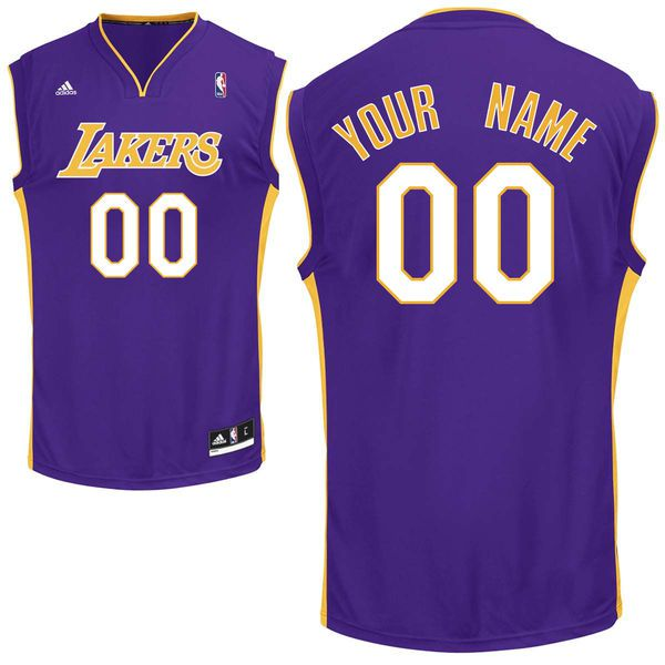 Men Adidas Los Angeles Lakers Custom Replica Road Purple NBA Jersey