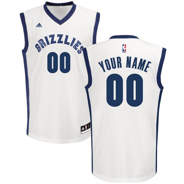 Men Adidas Memphis Grizzlies Custom Replica Home White NBA Jersey