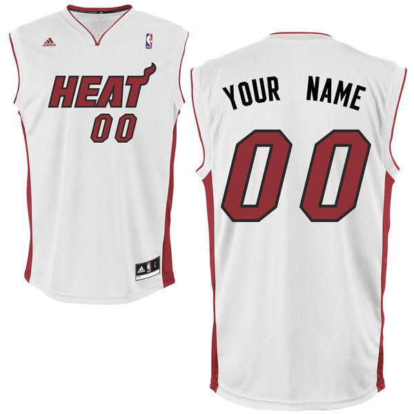 Men Adidas Miami Heat Custom Replica Home White NBA Jersey