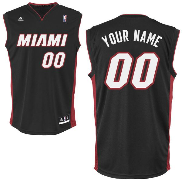 Men Adidas Miami Heat Custom Replica Road Black NBA Jersey