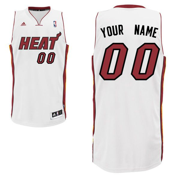 Men Adidas Miami Heat Custom Swingman Home White NBA Jersey