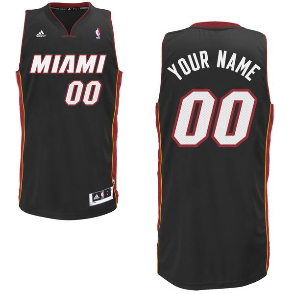 Men Adidas Miami Heat Custom Swingman Road Black NBA Jersey
