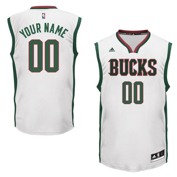 Men Adidas Milwaukee Bucks Custom Replica Home White NBA Jersey