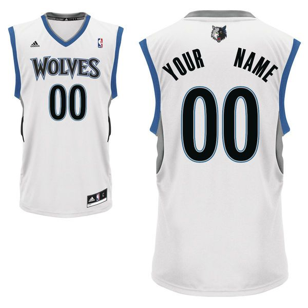 Men Adidas Minnesota Timberwolves Custom Replica Home White NBA Jersey