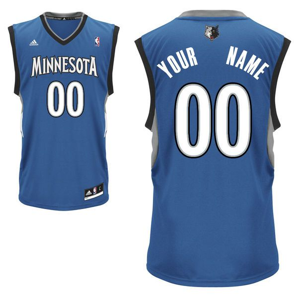 Men Adidas Minnesota Timberwolves Custom Replica Road Royal NBA Jersey