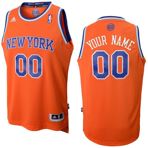Men Adidas New York Knicks Custom Replica Alternate Orange NBA Jersey