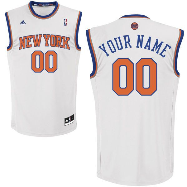 Men Adidas New York Knicks Custom Replica Home White NBA Jersey
