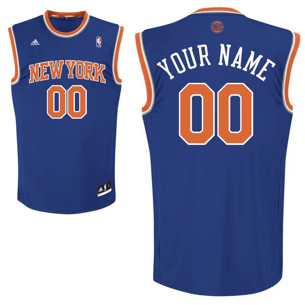 Men Adidas New York Knicks Custom Replica Road Blue NBA Jersey